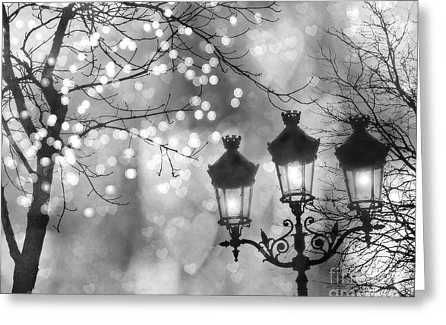 Paris Christmas Sparkle Lights Street Lanterns - Paris Holiday Street Lamps Black And White Lights Greeting Card by Kathy Fornal