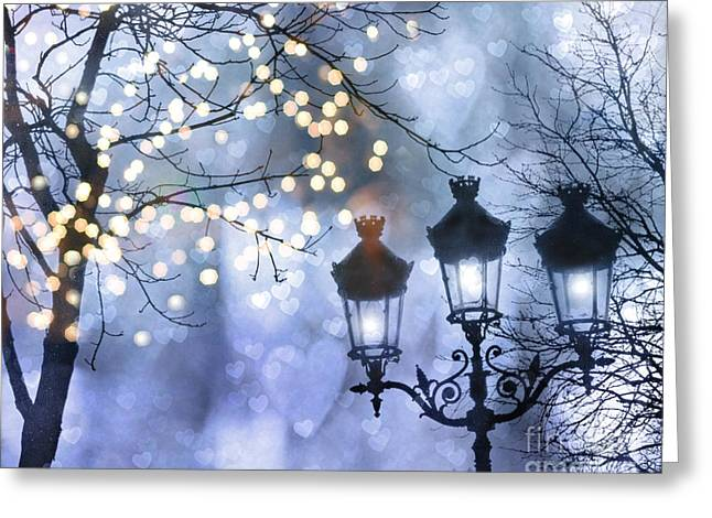Paris Holiday Magical Sparkling Twinkling Lights - Paris Sparkling Street Lanterns Greeting Card by Kathy Fornal