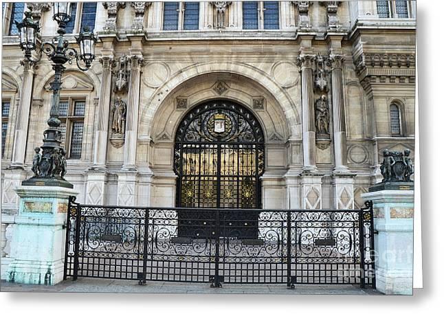 Paris Hotel De Ville Architecture Door  - Hotel Deville Art Deco Art Nouveau Greeting Card