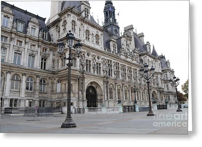 Paris Hotel De Ville Ornate Building - Paris Hotel Deville Architecture  Greeting Card by Kathy Fornal
