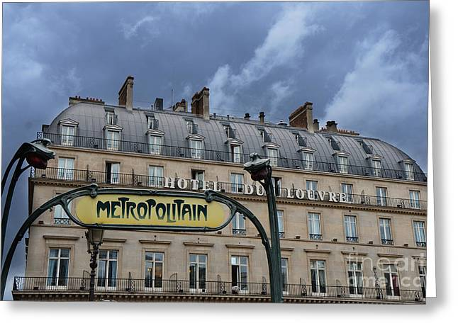 Paris Metropolitain Sign At The Paris Hotel Du Louvre Metropolitain Sign Art Noueveau Art Deco Greeting Card by Kathy Fornal