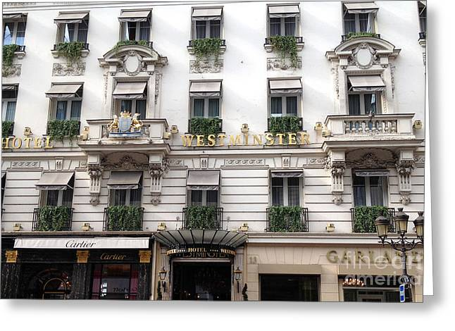 Paris Hotel Westminister Windows And Balconies - Paris Hotel Architecture And Cartier Shop Greeting Card by Kathy Fornal