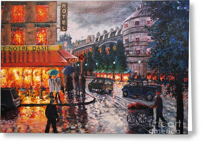 Paris In The Rain Greeting Card