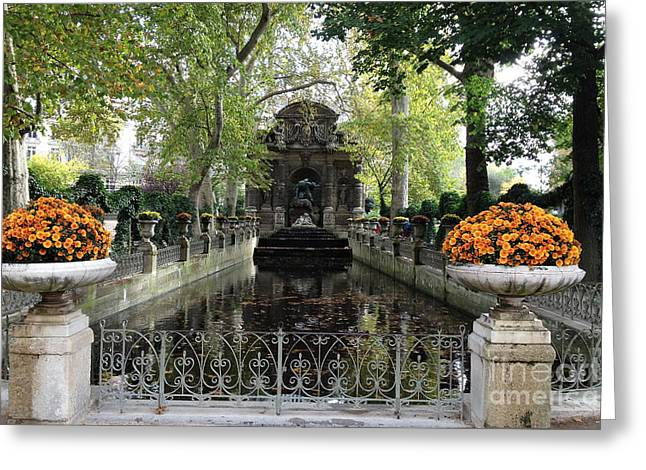 Paris Jardin Du Luxembourg Gardens Autumn Fall  - Medici Fountain Sculpture Autumn Fall Photographs Greeting Card