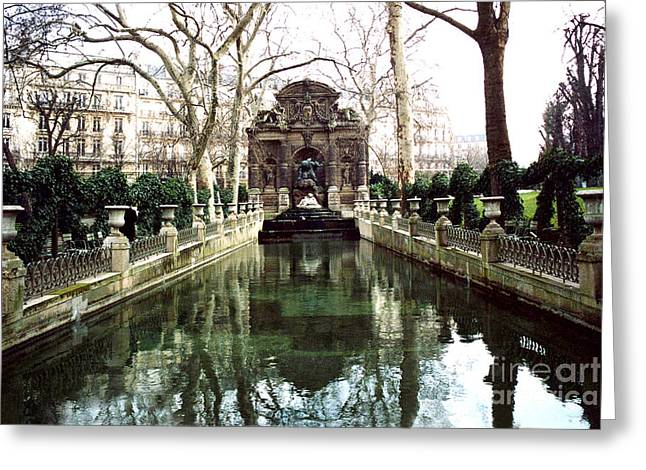 Paris Jardin Du Luxembourg Gardens - Medici Fountain Sculpture Monuments Park  Greeting Card by Kathy Fornal