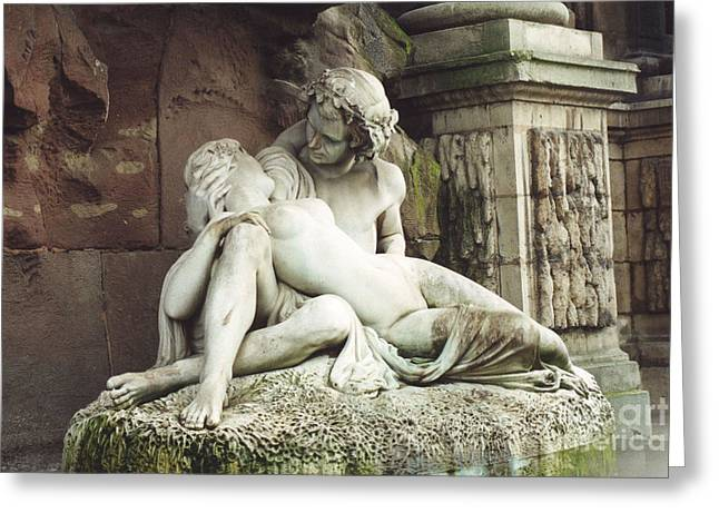 Paris - Jardin Du Luxembourg Gardens - The Medici Fountain Sculpture Monuments Romantic Lovers Greeting Card by Kathy Fornal