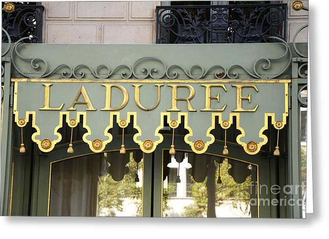 Paris Laduree Door Photography - Laduree Macaron Shop Door Sign Architecture Greeting Card