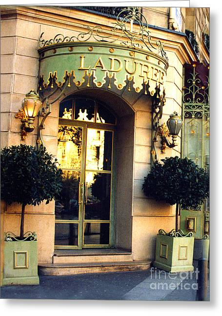 Paris Laduree French Bakery Patisserie - Champs Elysees Location Greeting Card by Kathy Fornal