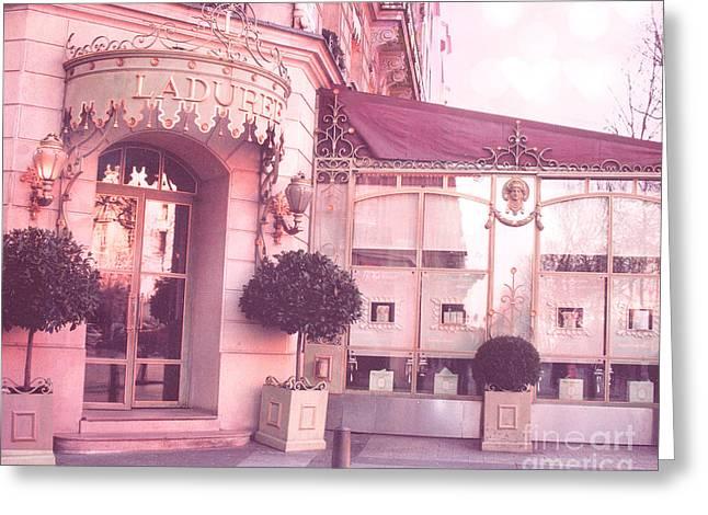 Paris Laduree Patisserie Pink Art Deco - Paris Laduree Patisserie Macaron Tea Shop Champs Elysees  Greeting Card
