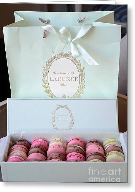 Paris Laduree Macarons - Dreamy Laduree Box Of French Macarons With Laduree Bag  Greeting Card by Kathy Fornal