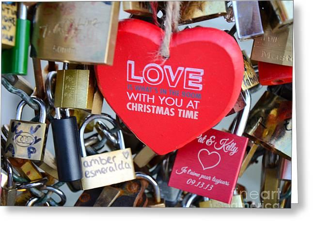 Paris Locks Of Love Padlocks And Red Valentine Love Heart - Paris Locks Of Love Over The River Seine Greeting Card