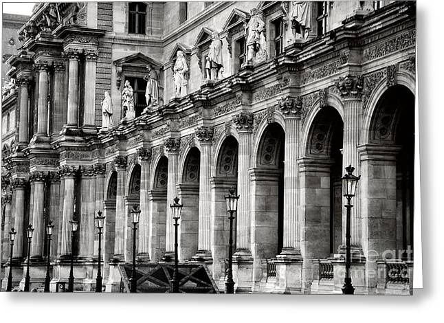 Paris Louvre Museum Architecture Street Lamps Lanterns - Louvre Museum Black And White  Greeting Card by Kathy Fornal