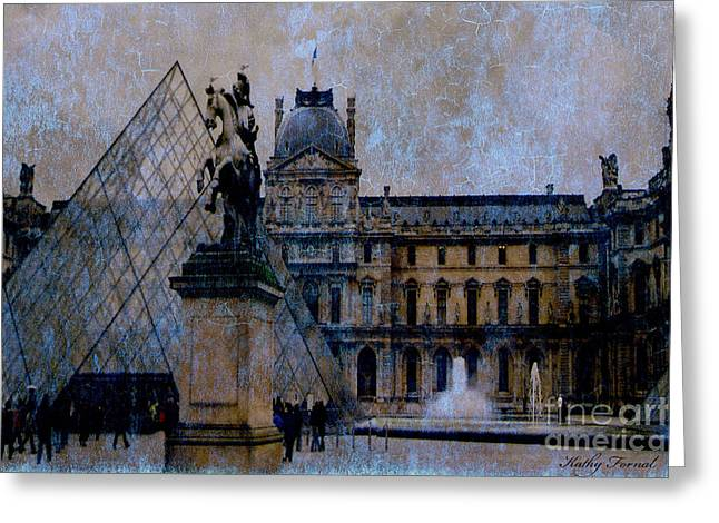 Paris Louvre Museum Impressionistic - Surreal Blue Brown Louvre Pyramid Architecture Sculptures Greeting Card by Kathy Fornal