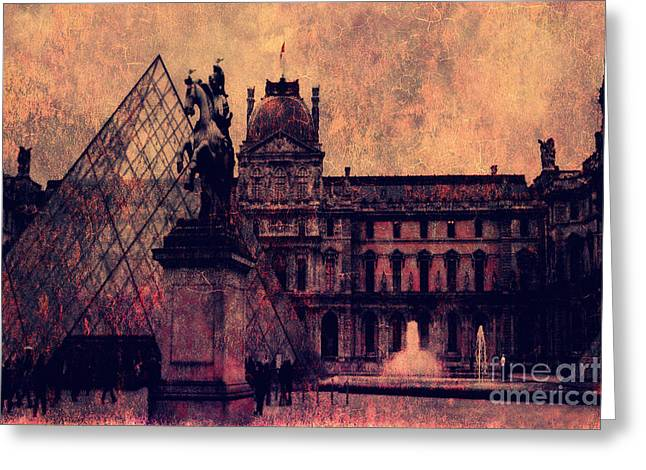 Paris Louvre Museum - Musee Du Louvre - Louvre Pyramid  Greeting Card by Kathy Fornal