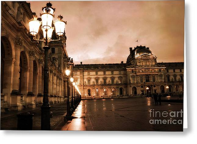 Paris Louvre Museum Sepia Night Lights Street Lamps - Paris Sepia Louvre Museum Night Photography Greeting Card by Kathy Fornal