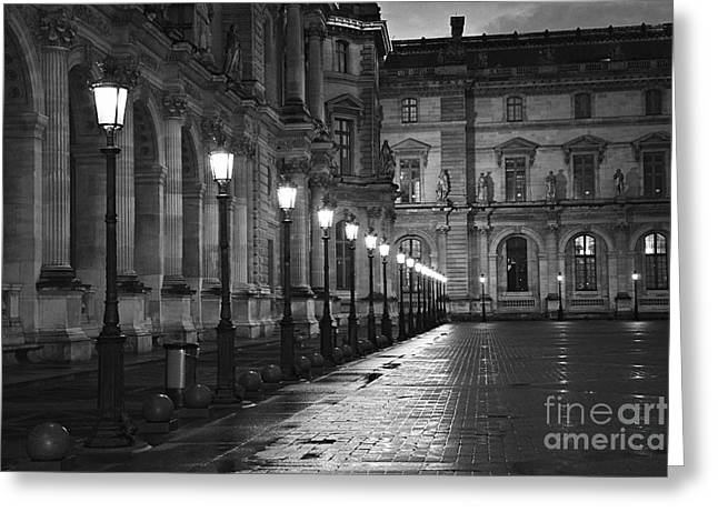 Paris Louvre Museum Street Lanterns Lamps - Paris Black And White Louvre Museum Street Lamps Greeting Card by Kathy Fornal