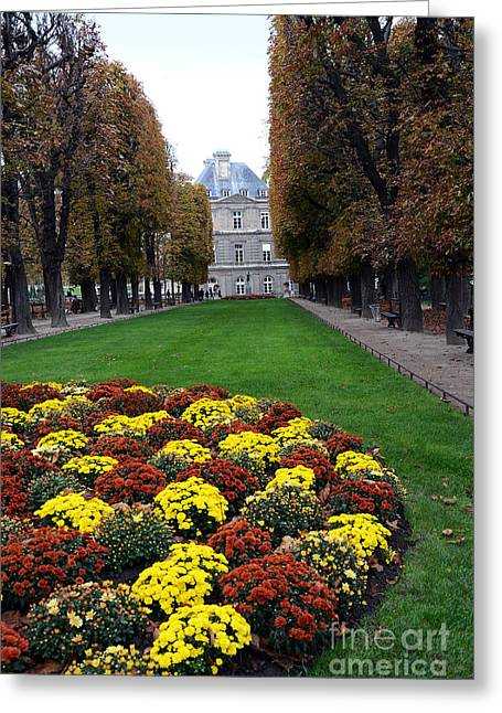 Paris Luxembourg Gardens And Trees - Luxembourg Gardens Parks Autumn - Paris Fall Autumn Colors Greeting Card by Kathy Fornal