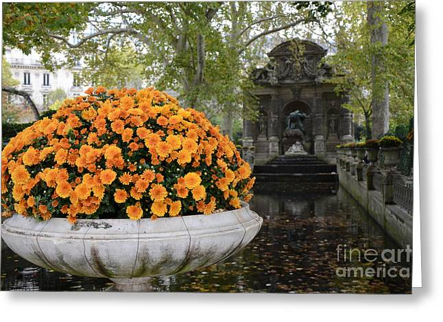 Paris Luxembourg Gardens Autumn Fall Landscape - Medici Fountain Autumn Fall Flowers  Greeting Card by Kathy Fornal