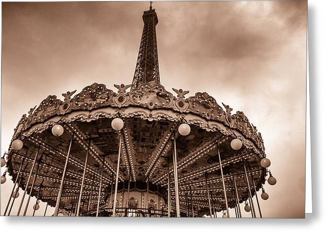 Paris Merry Go Round Toned Greeting Card by Georgia Fowler