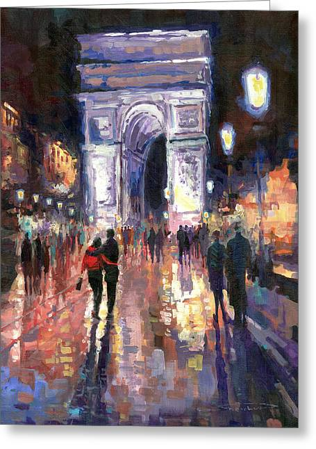 Paris Miting Point Arc De Triomphie Greeting Card by Yuriy  Shevchuk