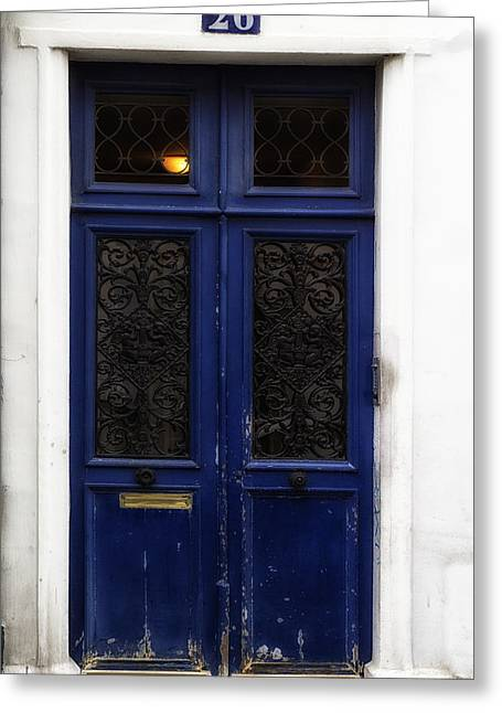 Paris Montmartre Door - Weathered Blue Greeting Card