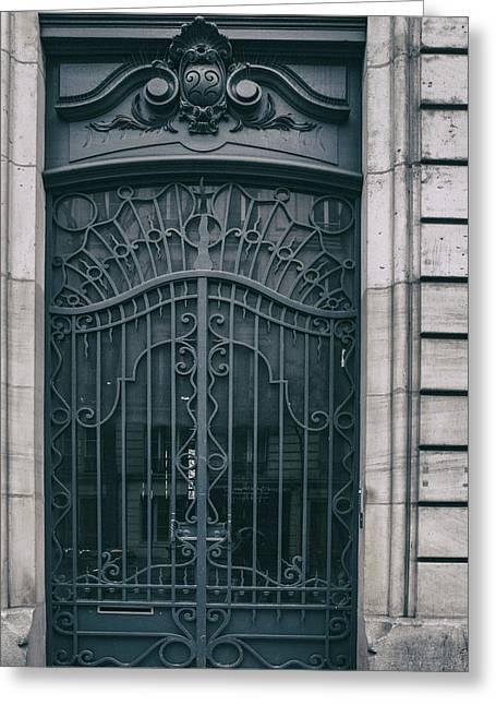 Paris Montmartre Door - Vintage Blue Greeting Card