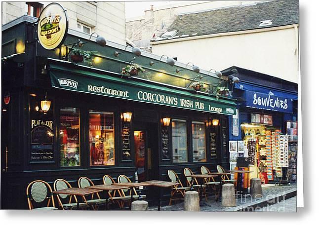 Paris Montmartre Irish Pubs Sidewalk Cafe Pub - Corcoran's Irish Pub Cafe Montmartre District Greeting Card by Kathy Fornal