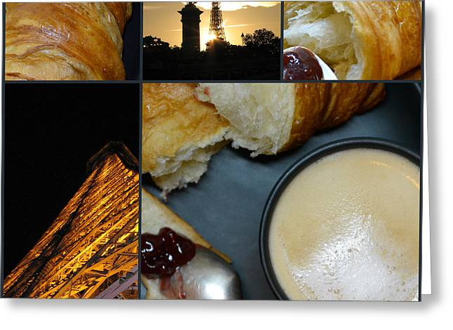 Paris - Morning And Evening - Parisian Breakfast And The  Eiffel Tower In Lights - Elena Yakubovich Greeting Card by Elena Yakubovich