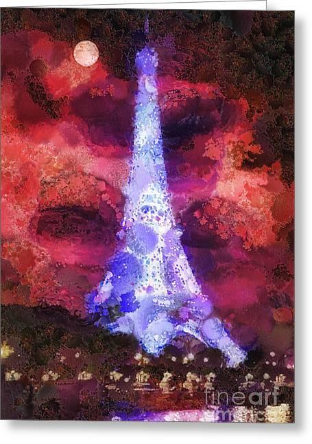 Paris Night Greeting Card by Mo T