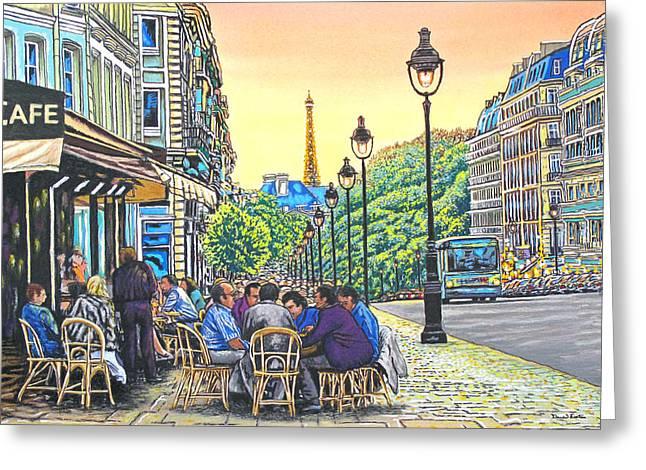 Paris Nights Greeting Card by David Linton