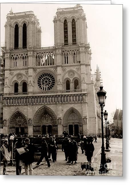 Paris Notre Dame Cathedral Sepia - Paris Vintage Sepia Notre Dame Cathedral Street Photography Greeting Card by Kathy Fornal