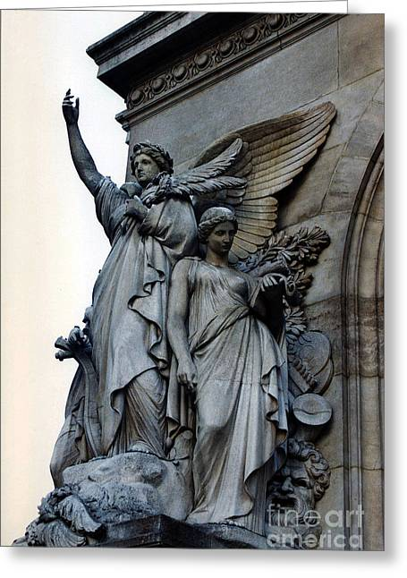 Paris Opera Angels - Opera De Garnier - Opera Statues And Angels - Paris Angels Of The Opera House  Greeting Card by Kathy Fornal