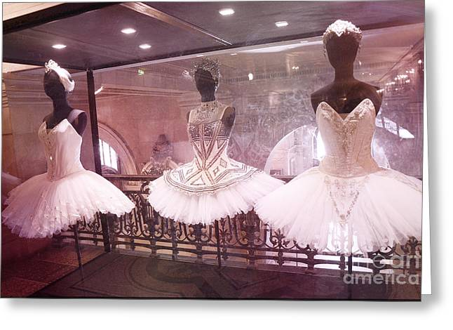 Paris Opera Ballerina Costumes - Paris Opera Garnier Ballet Tutu Costumes At Opera House Greeting Card by Kathy Fornal