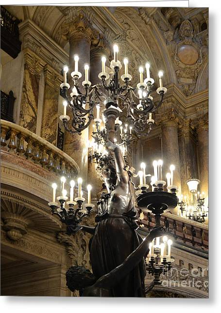 Paris Opera House Chandelier - Opera House Interior Architecture Chandeliers And Statues Greeting Card by Kathy Fornal