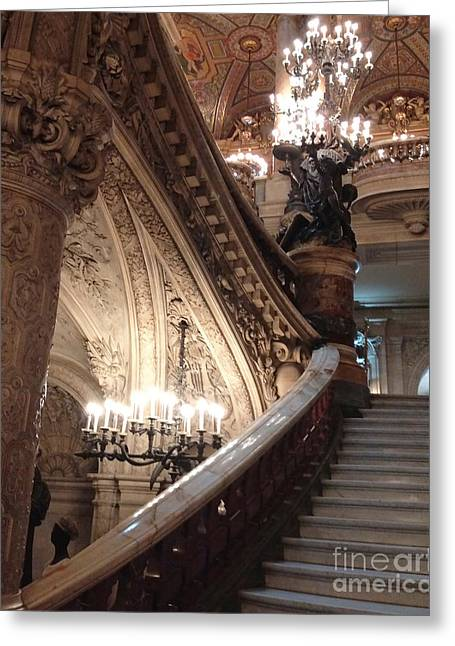 Paris Opera House Grand Staircase And Chandeliers - Paris Opera Garnier Romantic Architecture Greeting Card by Kathy Fornal