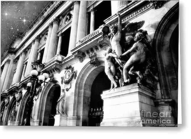 Paris Opera House - Opera Des Garnier Architecture - Paris Black And White Opera House Art Deco Greeting Card