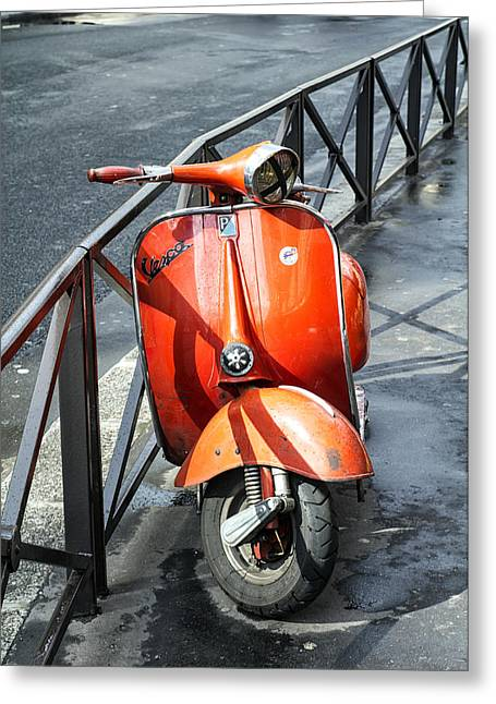 Paris Orange Vespa Greeting Card