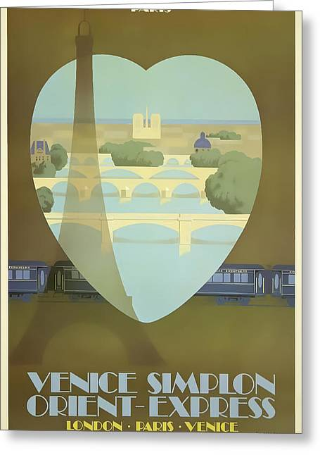 Paris Orient Express Greeting Card by David Wagner
