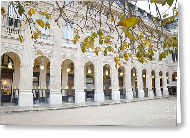 Paris Palais Royal Columns - Paris Winter White Palais Royal Architecture Greeting Card by Kathy Fornal