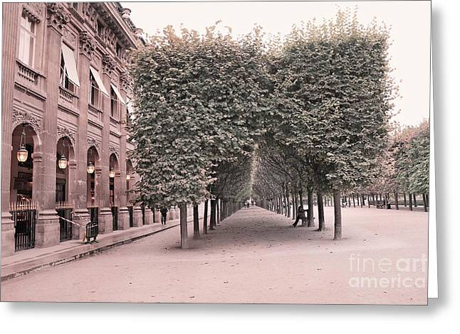 Paris Palais Royal Gardens Trees Architecture - Paris Romantic Palais Royal Garden Landscape Greeting Card by Kathy Fornal