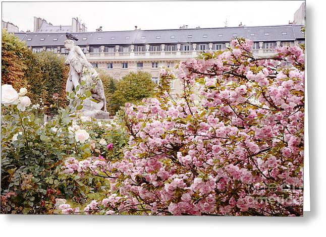 Paris Palais Royal Rose Sculpture Garden - Paris Spring Cherry Blossoms At Palais Royal Garden Greeting Card by Kathy Fornal