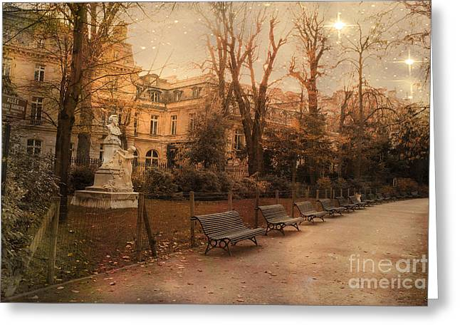 Paris Parc Monceau Gardens - Jocques Garnerin Parc Monceau Sunset Starlit Park And Garden Sculpture  Greeting Card by Kathy Fornal