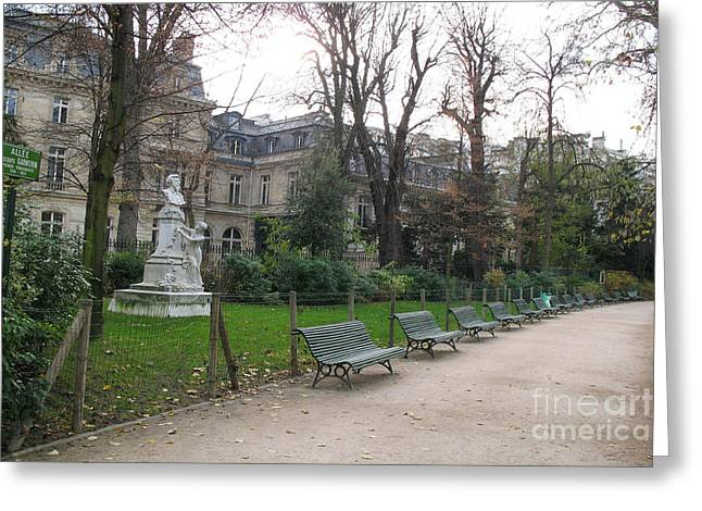 Paris Parc Monceau Gardens - Romantic Paris Park And Garden Sculpture Art  Greeting Card by Kathy Fornal