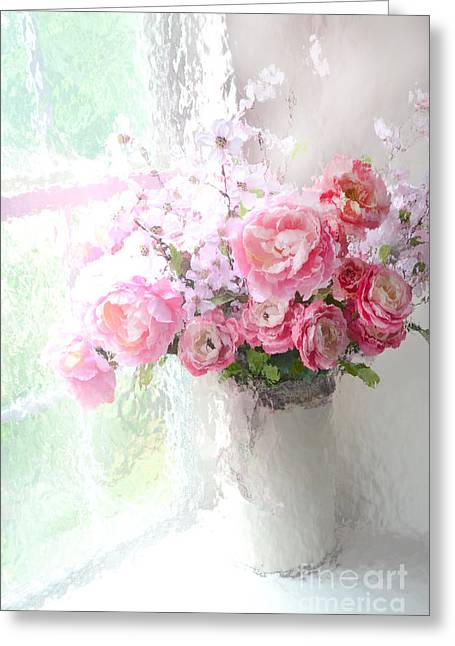 Paris Peonies Roses Shabby Chic Art - Romantic Paris Peonies And Roses Impressionistic Floral Art Greeting Card