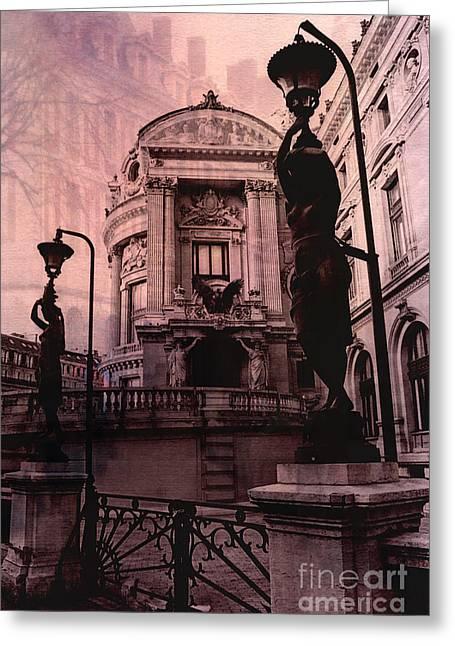 Paris Pink Opera House - Opera De Garnier Statues And Sculpture Art Deco Greeting Card