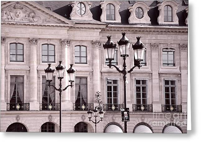 Paris Place Vendome Pink And Black Architecture - Paris Pink Black Street Lanterns Architecture  Greeting Card by Kathy Fornal