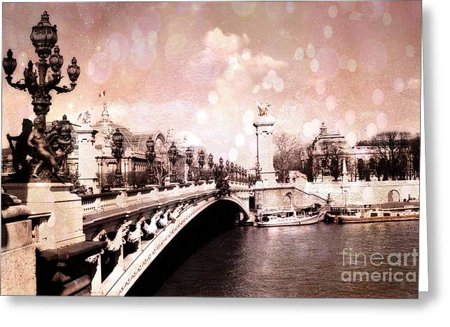 Paris Pont Alexandre IIi Bridge Over The Seine - Paris Romantic Bridge Sculptures And Ornate Lamps  Greeting Card by Kathy Fornal