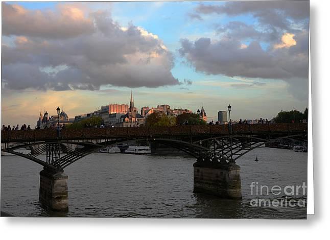 Paris Pont Des Art Bridge - Seine River Romantic Bridge - Love Locks  Greeting Card