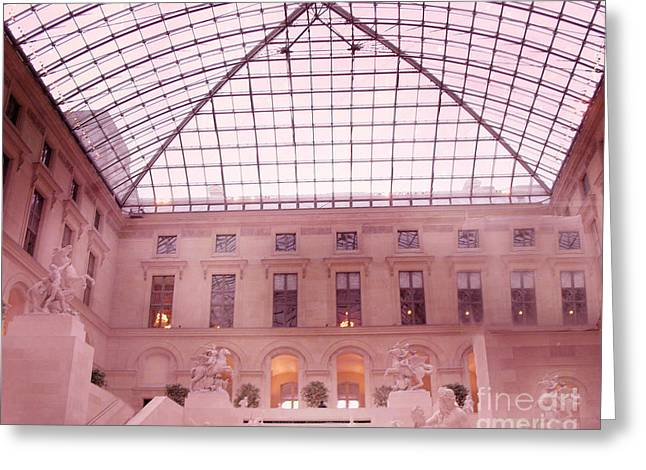 Paris Pyramid Inside Louvre Museum - Musee Du Louvre Pink Pyramid Art Sculpture And Monuments Greeting Card by Kathy Fornal
