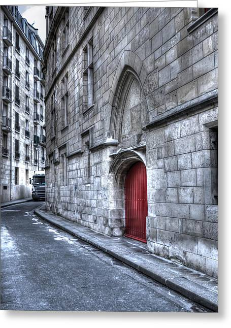 Paris Red Door Greeting Card by Evie Carrier